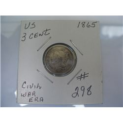 U.S.  1865 3 Cent Piece  -  Civial War Era