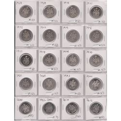 SHEET OF 20 COINS, 50 CENT PIECES 1968 - 1981, 85, 93, 94, 2000, 02, 10, 12