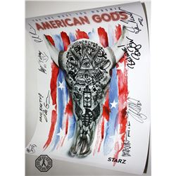 American Gods Season 1 SDCC 2016 Poster Signed by 8 Cast/Creative Team