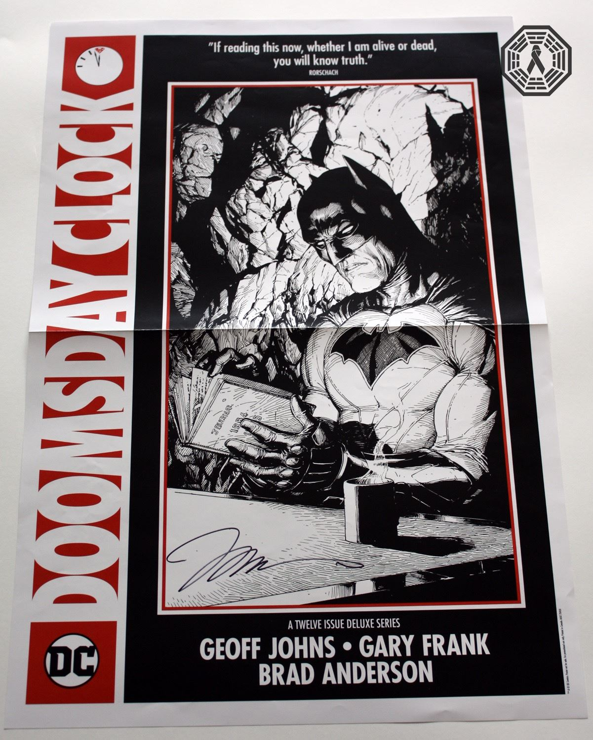 dc comics doomsday clock batman rorschach poster signed by j lee