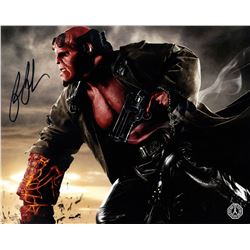 Hellboy Photo Signed by Ron Perlman & Right Hand of Doom Ceramic Coin Bank