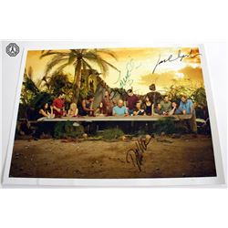 LOST Last Supper Mini Photo Poster Signed by J. Bender, DDK, T. O'Quinn