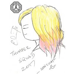 Thumper Movie Kat Carter Original Doodle Signed by Eliza Taylor (The 100)
