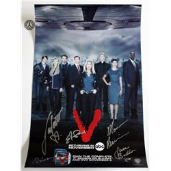 V (2009 TV) Mini Poster Signed by M. Baccarin, J. Badler, E. Mitchell, L. Vandervoort