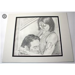 Walking Dead, The - Maggie and Glenn Fan Art Signed by L. Cohan & S. Yeun