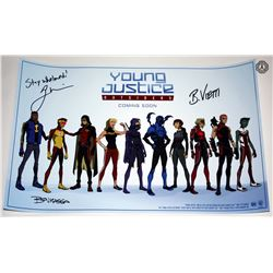 Young Justice: Outsiders SDCC 2017 Poster Signed by Bourassa, Vietti, Weisman