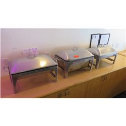 """3 Chafing Dishes w/ Stands, 2"""" Hotel Pans, 2"""" Steaming Pan, 6"""" Hotel Pan"""