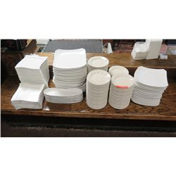 Qty 100+ White Ceramic Salad/Appetizer and B&B Plates, Various Shapes & Sizes