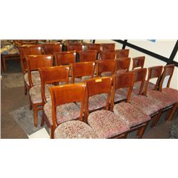 Approx. 21 Wooden Dining Chairs w/ Red/Tan Upholstered Seats