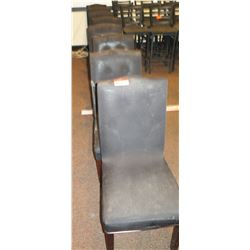 Qty 7 Grey Upholstered Dining Chairs w/Dark Padded Seats