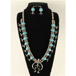 Old Pawn Turquoise & Silver Squash & Earrings Set