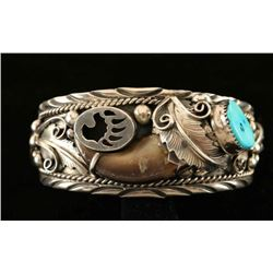 Vintage Bear Claw, Silver & Turquoise Cuff