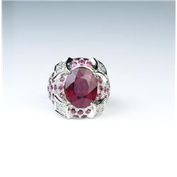 Extraordinary 9.07 Carat Ruby & Diamond Ring
