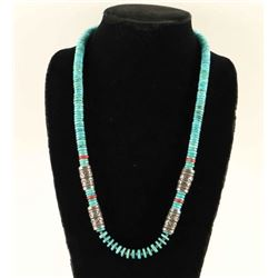 Kingman Turquoise & Coral Singer Style Necklace