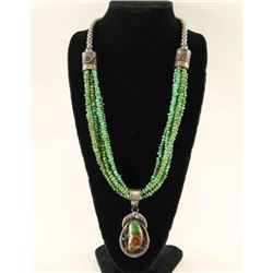 Six Strand Green Turquoise & Sterling Necklace
