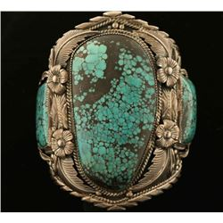 Large 3 Stone Blue Wind Spiderweb Turquoise Cuff