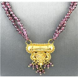Fine Quality 22K Gold Garnet Necklace