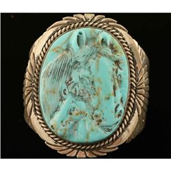 Turquoise & Sterling Horse Cuff