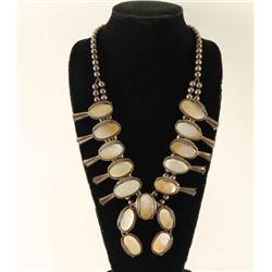 Unusual Mother of Pearl Squash Blossom Necklace