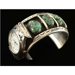 Vintage Silver & Turquoise Watch Cuff