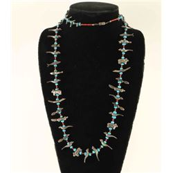 Sterling, Turquoise & Coral Fetish Necklace