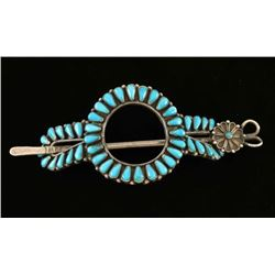 Zuni Turquoise and Sterling Stick Barrette