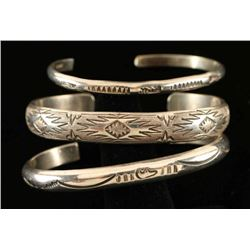 Lot of 3 Vintage Navajo Sterling Stamped Bracelets