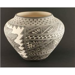 Navajo Incised Carved Pot with Hummingbird