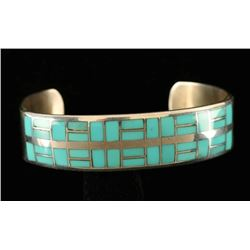 Sterling Silver Inlaid Turquoise Cuff