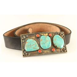 Large Navajo Belt Buckle with Kingman Turquoise