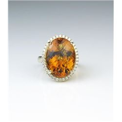 Beautiful Checkerboard Cut Citrine & Diamond Ring
