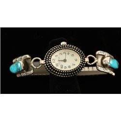 Sterling Silver & Turquoise Ladies Watch Tips