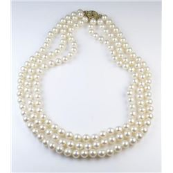 Elegant Triple Strand Cultured Pearl Necklace