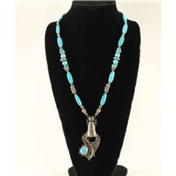 Turquoise & Sterling Navajo Kachina Necklace