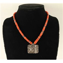 Antique Silver Repousse on Red Coral Necklace
