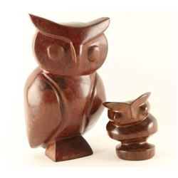 Lot of 2 Ironwood Owls