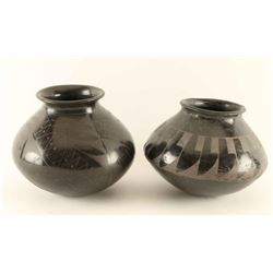 Lot of 2 Mata Ortiz Blackware Pots