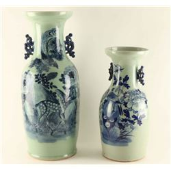 Lot of 2 Tall Chinese Vases