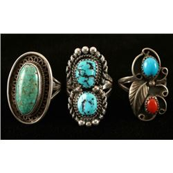 Lot of 3 Sterling Silver & Turquoise Rings