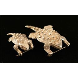 (2) Sterling Frog Pins