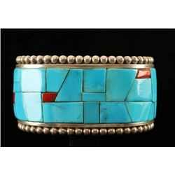 Beautiful Kingman Turquoise & Coral Cuff