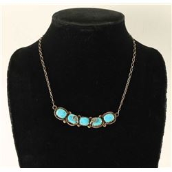 Sterling Silver & Turquoise Snake Necklace