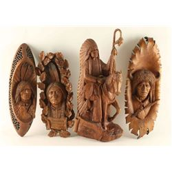 Lot of 4 Wood Carvings of Native Americans