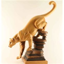 Wood Carved Mountain Lion