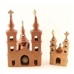 Lot of 2 Clay Churches