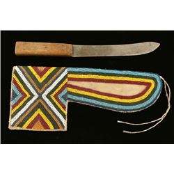 Cree Knife & Beaded Sheath