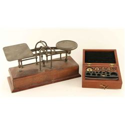Small antique scale & weights