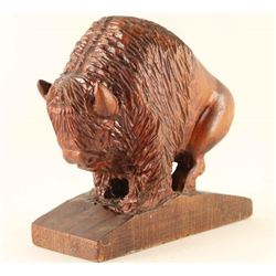 Wood Carved Buffalo