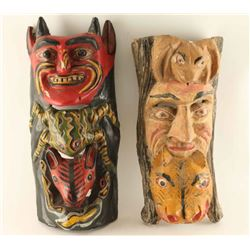 Lot of 2 Wood Carved Masks