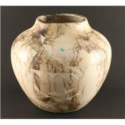 Large Horsehair Pot with Turquoise Inlay